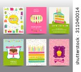 set of birthday brochures and... | Shutterstock .eps vector #311040014