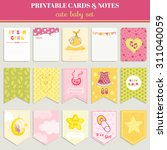 cute girl card set for birthday ... | Shutterstock .eps vector #311040059
