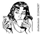 morning girl coffee tea phone...   Shutterstock .eps vector #311046287