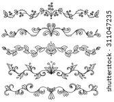 set of hand drawn swirly... | Shutterstock .eps vector #311047235