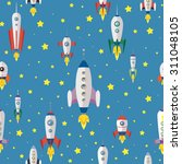 cartoon spaceships launch... | Shutterstock .eps vector #311048105