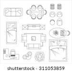 floor plan furniture set vector ... | Shutterstock .eps vector #311053859