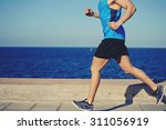 cropped shot with muscular... | Shutterstock . vector #311056919