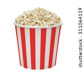 popcorn in striped bucket... | Shutterstock . vector #311064119