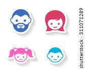 set of four colorful family... | Shutterstock .eps vector #311071289