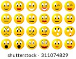 yellow male and female smiley... | Shutterstock . vector #311074829