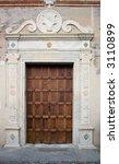 ancient wood door in saluzzo  a ... | Shutterstock . vector #3110899