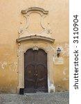 ancient wood door in saluzzo  a ... | Shutterstock . vector #3110904