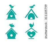 Vector Group Of Bird Houses On...