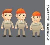 three engineer cartoon character | Shutterstock .eps vector #311115971
