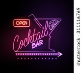 neon sign cocktail bar | Shutterstock .eps vector #311116769