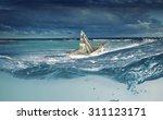 ship made of dollar banknote... | Shutterstock . vector #311123171