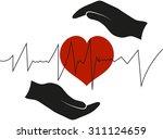 hands holding heart. vector...