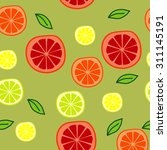 seamless pattern with oranges... | Shutterstock .eps vector #311145191
