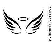 vector sketch of angel wings on ... | Shutterstock .eps vector #311149829