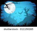 halloween blue spooky a4 frame...   Shutterstock .eps vector #311150285