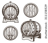 Set Of Vintage Wooden Barrels...