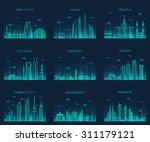 Stock vector arabian peninsula skylines detailed silhouette abu dhabi dubai mecca riyadh muscat doha 311179121