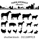 Stock vector vector farm animals silhouettes isolated on white livestock and poultry icons rural landscape 311189915