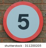 Small photo of 5 Miles Per Hour Sign, Devon, England, UK