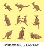 Kangaroo Poses Cartoon Vector...