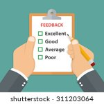 feedback concept. hand holding... | Shutterstock .eps vector #311203064