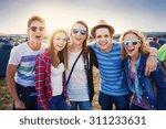Group of beautiful teens at...
