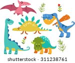 collection of cute cartoon... | Shutterstock .eps vector #311238761