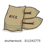 sac of rice   cartoon  hand... | Shutterstock .eps vector #311242775