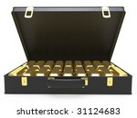isolated leather case with gold ... | Shutterstock . vector #31124683