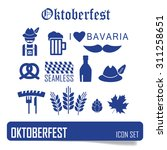 octoberfest icon set. german...