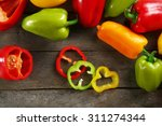 Colorful Peppers On Rustic...