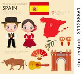 traveling europe   spain flat... | Shutterstock .eps vector #311288861