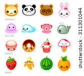 cute japanese stickers with... | Shutterstock .eps vector #311301044