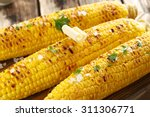 Fresh Tasty Grilled Corn With...