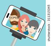 three friends making summer...   Shutterstock .eps vector #311315345
