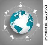 modern globes and world map ... | Shutterstock .eps vector #311319725