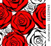 Stock vector seamless pattern with roses contours red black and white vector illustration 311325965