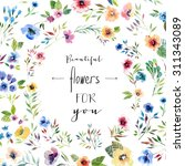 floral card of painted ... | Shutterstock . vector #311343089