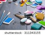 ink pads  plasticine blocks ... | Shutterstock . vector #311343155