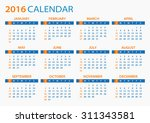 2016 calendar   illustration | Shutterstock .eps vector #311343581