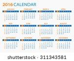 2016 calendar   illustration | Shutterstock .eps vector #311343581