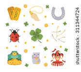 set of the lucky charms icons.... | Shutterstock .eps vector #311344724