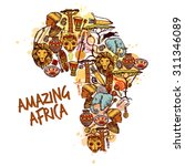africa concept with sketch... | Shutterstock .eps vector #311346089