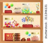 sweet store shelf with bonbons...   Shutterstock .eps vector #311346131