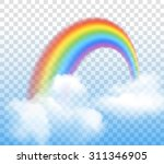 bright arched rainbow with...