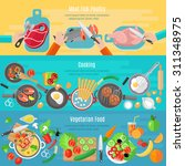 Постер, плакат: Healthy vegetarian diet dishes