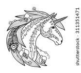 ornamental unicorn. vector... | Shutterstock .eps vector #311351471