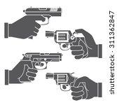 gun icons  hand holding gun | Shutterstock .eps vector #311362847