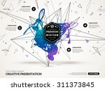 3D abstract background with paint stain and geometric shapes. Vector design layout for business presentations, flyers, posters. Scientific future technology background. | Shutterstock vector #311373845